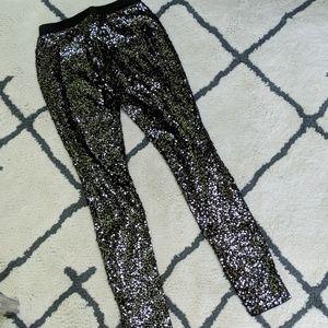 324dabcf063a9 Express Pants | Disco Sequin Leggings Black Silver | Poshmark